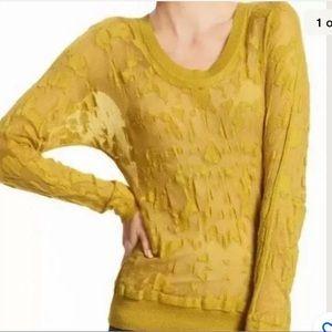 CAbi #477 Yellow Ochre Burnout Layering Sweater